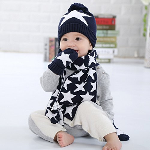 Scarf Blu Knit Kid Guanti Beanie Kids 3 Navy pezzi Toddler Bambino Cap Hat Crochet BtUXn7xwq