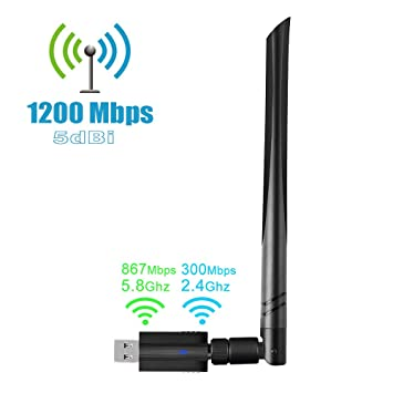 1200Mbps USB Wireless Adaptador USB 3.0 de Alta Velocidad WiFi Adaptador 5dBi Antena WiFi USB Tarjeta de Red Dual Band 2.4G/5.8G Receptor WiFi Dongle ...