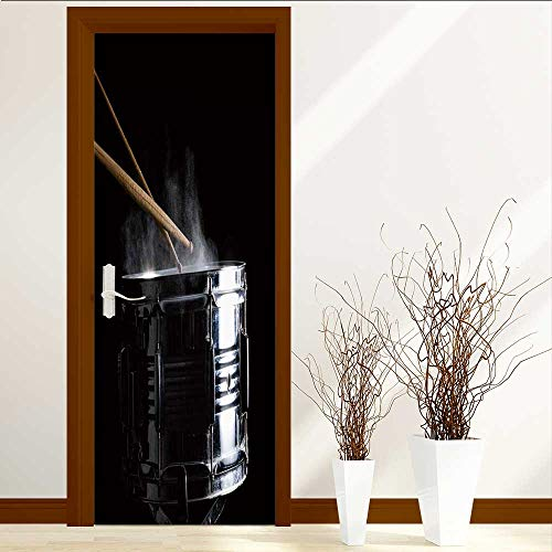 TijakaTechnology Art Decor 3D Door Wall Mural Wallpaper Stickers Drum Sticks hit on The Snare Drum in Black Close up Low Key Door Wall Mural Wallpaper Stickers W31 x H79