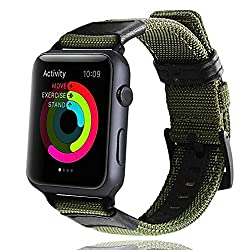 Icear Apple Watch Band 38mm, Nylon Iwatch Sport Strap Replacement Bands With Stainless Metal Clasp Adapters For Apple Watch Series 3 Series 2 Series 1 (Olive, 38mm)