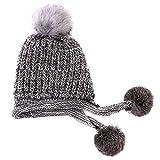 Arsmt Wool Knitting Cap Stretch Earmuffs Beanie Warm Knit Hat With Pom Ear Flaps