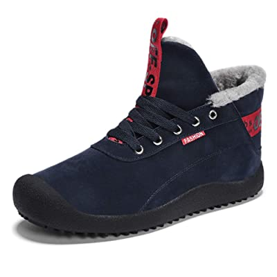 JACKSHIBO Men Fur Lined Winter Snow Boots High Top Warm Sneakers | Snow Boots