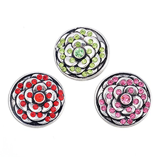 Souarts Fixed Mixed Flower Shaped Rhinestone DIY Snap Button Jewelry Charms 20mm Pack of 3pcs