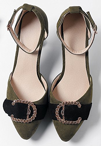 Idifu Kvinners Trendy Ankel Strap Faux Semsket Midten Stiletto Rhinestone Kjole Dame Pumper Grønn