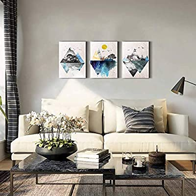 Wall Art For Living Room Canvas Prints Artwork Bathroom Wall Decor Abstract Mountain Geometric Picture Watercolor Painting 3 Pieces Framed Bedroom Wall Decorations Fashion Office Home Decoration Amazon Sg