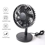 Liecho Mini USB Desk Fan,Portable personal Cooling Fan,High Velocity Desktop Fan,Strong Wind,3 Speeds,Super Mute for Home and Office(Black)