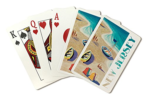 New Jersey - Beach Scene (Playing Card Deck - 52 Card Poker Size with Jokers)