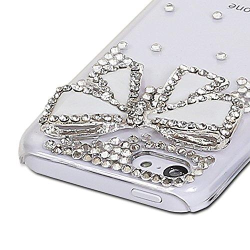 Crazy Panda Iphone 5C DIY Case - 3D Handmade Crystal Rhinestone Bling Diamonds Case Cover for Iphone 5C (white bow)