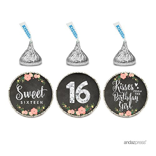 Andaz Press Chocolate Drop Labels Trio, Fits Hershey's Kisses, Sweet 16 Birthday, Chalkboard Floral, 216-Pack]()