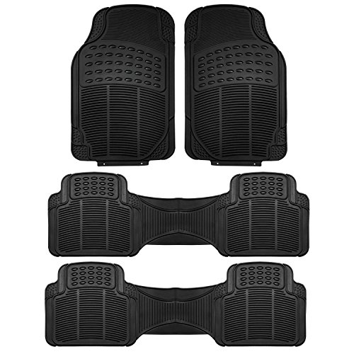 FH Group F11306BLACK-3ROW Floor Mat (Trimmable Heavy Duty 3 Row SUV All Weather 4pc Full Set – Black)