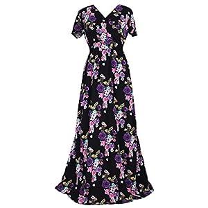 ba69dd23104f Women Black Summer Dress Maxi Plus Size Graduation Chiffon Gift Long  Sleeveless Sexy Floral Sundress (3X