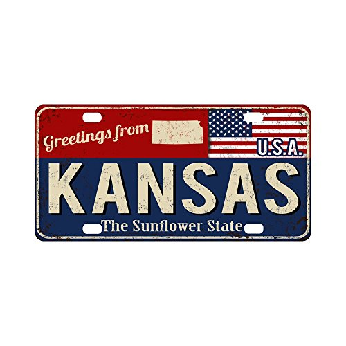 InterestPrint Kansas the Sunflower State Rusty Metal Sign with USA Flag Metal License Plate for Car, Car Tags Cover for Woman Man - 12