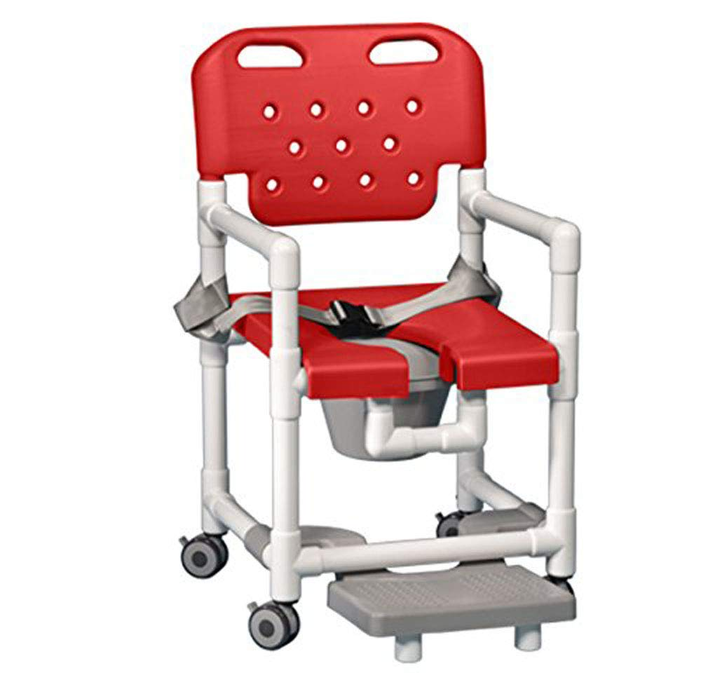 IPU ELT817 P FRSB Elite Shower Chair Commode with Footrest and Safety Belt for use Over existing Toilet, Bedside, and in The Shower (Red) by IPU