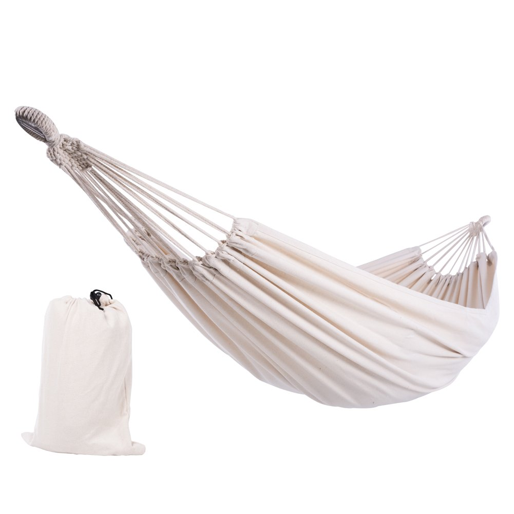 SUNCREAT 12ft Double Brazilian Wide Hammock Cotton Fabric Travel Camping Hammock with 2 Person for Indoor or Outdoor-Natural