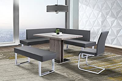Armen Living LCAMBEGRBCH Amanda Bench in Grey Faux Leather and Chrome Finish