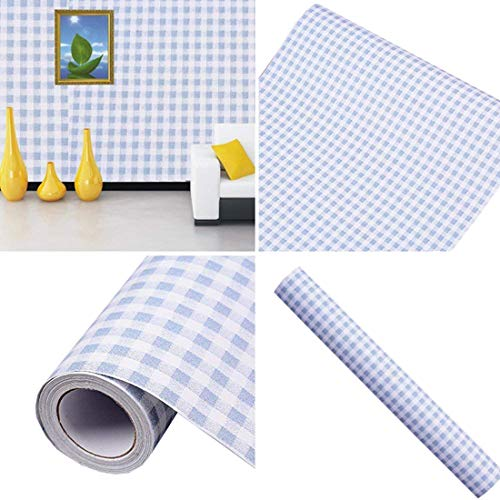 Blue Gingham Adhesive Decorative Contact Paper Laminate Shelf and Drawer Liner 17.7x78 Inch