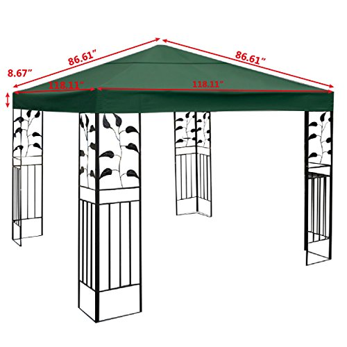Tangkula 10'x10' Canopy Cover Outdoor Patio Gazebo Replacement Top Cover Wedding Party Event Tent Cover Heavy Duty Durable Waterproof Sun Snow Rain Shelter 1-Tier or 2-Tier 3 Color (1-Tier, Beige) by Tangkula (Image #1)