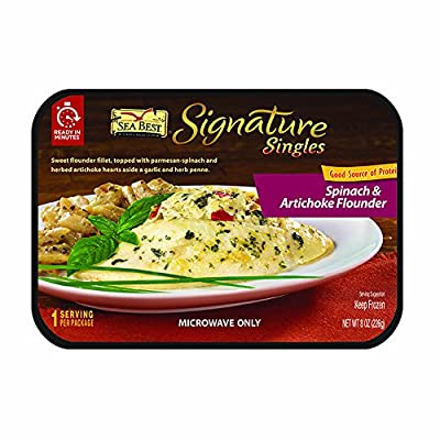 Sea Best Signature Singles Spinach and Artichoke Flounder with Penne Pasta, 8 Ounce