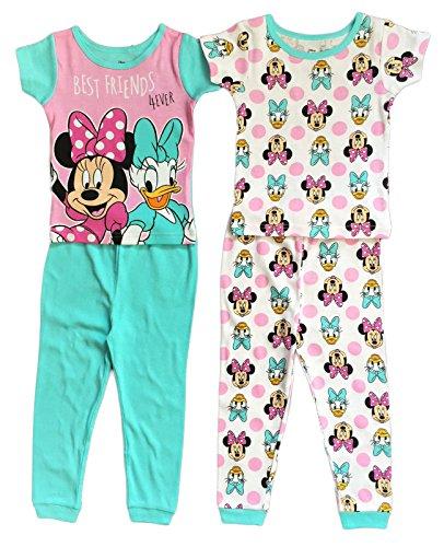 Disney Minnie & Daisy Little Girls Toddler 4 Pc Cotton Pajama Set (4T) -