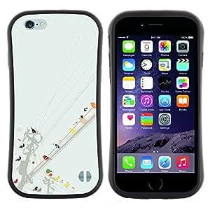 """Hypernova Slim Fit Dual Barniz Protector Caso Case Funda Para Apple (4.7 inches!!!) iPhone 6 / 6S (4.7 INCH) [Aves de la línea de arte colorido Pintura Acuarela""""]"""