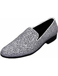 Men's Flat Glossy Sequin Slip On Loafer Shoes (10.5 US Black)