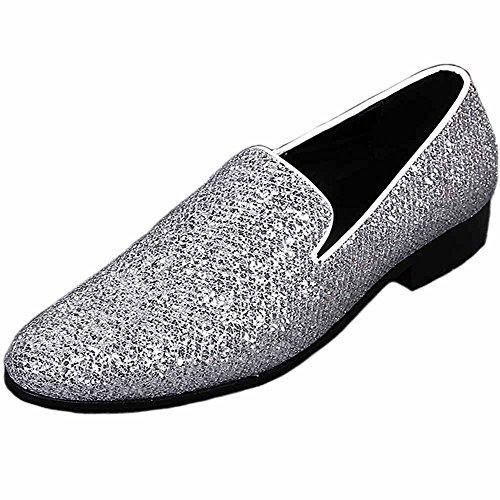 Fulinken Men Genuine Leather Mens Metallic Textured Slip-On Glitter Loafers Shoes Silver tuaRl9V
