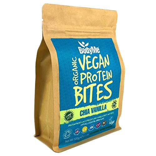 BodyMe Bio Vegane Protein Snacks Bisse | Roh Chia Vanille | 500g | 100 Bisse | Mit 3 Pflanze Proteine