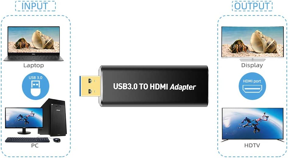 USB 3.0//2.0 to HDMI USB to HDMI Converter With Audio,Up to1080P Resolution Compatible With Windows XP // 10//8.1//8//7 USB 3.0 to HDMI Adapter No support Mac, Linux, Vista, Chrome,