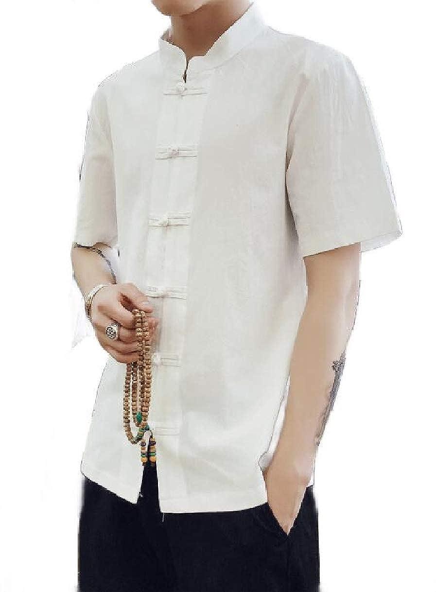 YIhujiuben Men Short Sleeve Summer Chinese Kung Fu Style Button Down Shirt