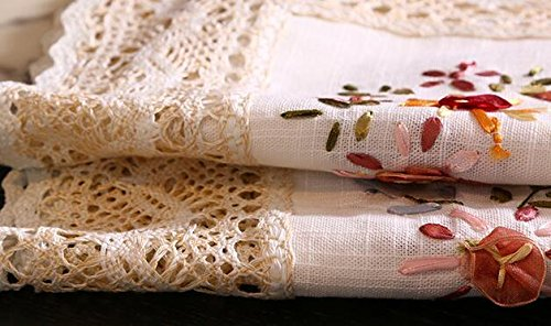 CJ Fashion American Country Style Linen Tablecloth Embroidered Table Runners