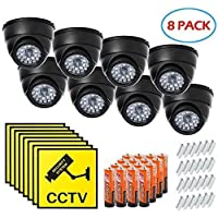 Dome Surveillance Security Dummy Imitation Camera, Simulated Blinking LED Light, Fake Infrared CCTV, Batteries, Warning Security Alert Sticker Decals, Wall or Ceiling Mount Screws Included - 8 Pack