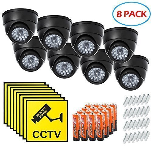 Dome Surveillance Security Dummy Imitation Camera, Simulated Blinking LED Light, Fake Infrared CCTV, Batteries, Warning Security Alert Sticker Decals, Wall or Ceiling Mount Screws Included – 8 Pack