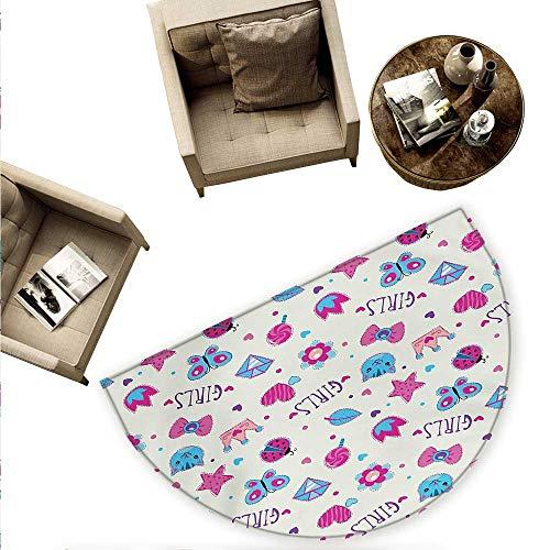 Teen Girls Half Round Door mats Pattern with Funny Doodle Elements Bowtie Ladybird Diamond Figures and Kitty Bathroom Mat H 74.8