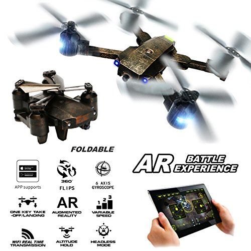 ATTOP XT-PACK 1 Drone with Wifi HD Camera FPV Live Video Cell Phone Control 4 Rotors Folding Quadcopter 2.4G 6 Axis Gyro Fold Remote Control Heli with One Key Take Off Altitude Hold (Bronze) by Attop