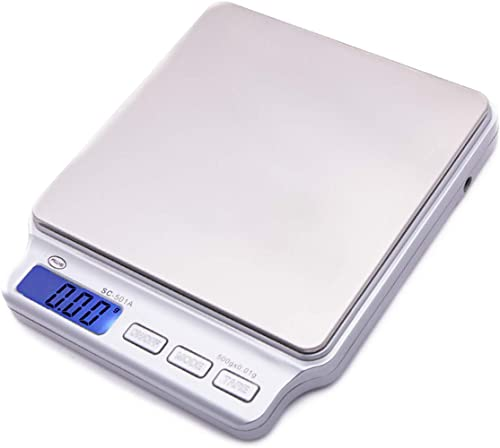 American Weigh Scale SC Series Precision Digital Food Kitchen Weight Scale, Silver, 500 x 0.01G (SC-501-A)