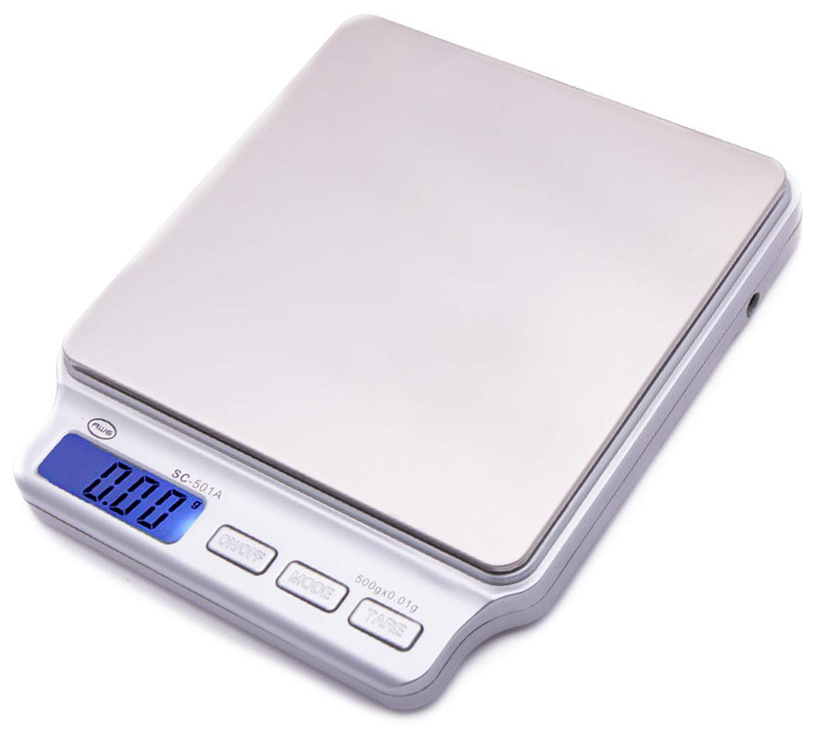 American Weigh Scales SC Series Precision Digital Food Kitchen Weight Scale, Silver, 500 x 0.01G (SC-501-A) by AMERICAN WEIGH SCALES