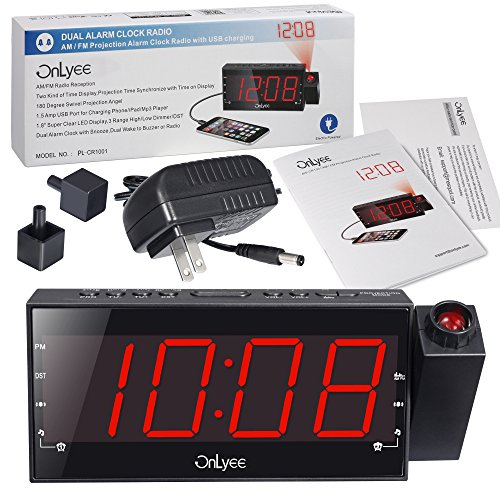 onlyee digital led dimmable projection alarm clock radio with am fm usb charging port 11street. Black Bedroom Furniture Sets. Home Design Ideas