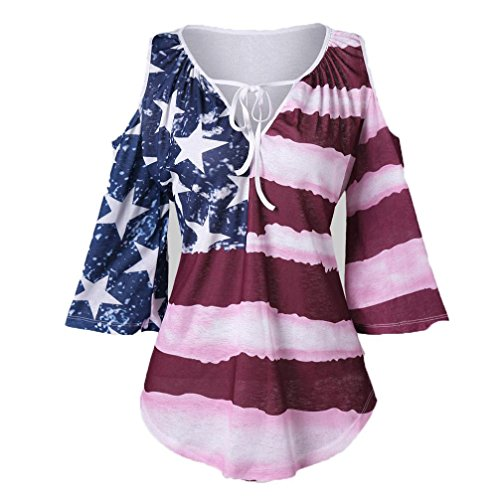 HOSOCHRIS Women Off Shoulder Summer Sexy USA Flag Tee Shirts Stripe Stars American Flag Print Tops Blouse (S)