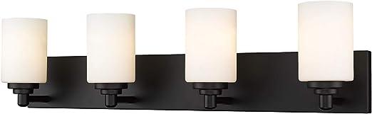 Z-Lite Soledad 4 Light Glass Steel Vanity Light in Matte Black