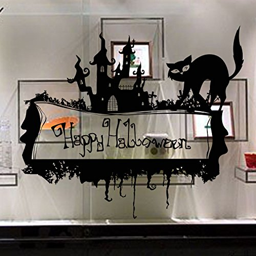BB.er Wallpapers Halloween Decorative Black Cat PVC Removable Eco Festival Decorative Sticker, 67 × 58cm ()