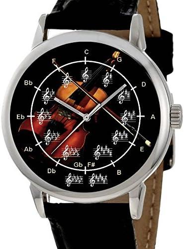 Classic violín Art círculo de quintas partes música notación Art 40 mm Unisex Reloj de pulsera: Amazon.es: Instrumentos musicales