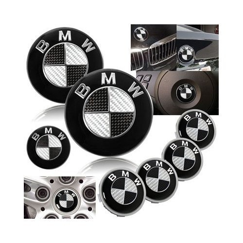 7 BMW Black Carbon Fiber Emblem logo badge SET 82mm + 74mm + 45mm + 68mm Hood/Trunk/Steering/4 X Wheel Caps. (Bmw Emblem E60)