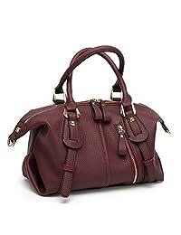 Mn&Sue Women Top Handle Barrel Bag Soft Leather Handbag Punk Purse Shoulder Duffel Satchel