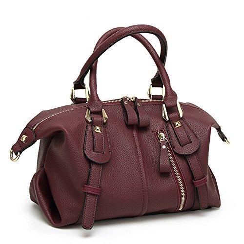 (Mn&Sue Women Top Handle Barrel Bag Soft Leather Handbag Punk Purse Shoulder Duffel Satchel (Wine Red))