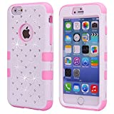 Vogue shop Diamond design 3in1 Silicone Design Bumper Slim Hard Back Case Cover Compatible with Apple iPod Touch 5 - (White/Pink)