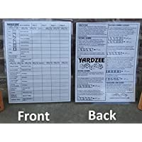 Yardzee Score Card with Rules on the back. Laminated- for use with a dry erase marker (not included)