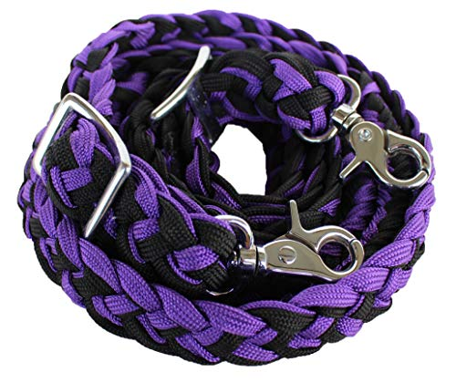 PRORIDER Roping Knotted Horse Tack Western Barrel Reins Nylon Braided Purple Black 60707 ()