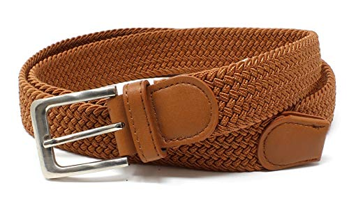 Mens Braided Elastic Stretch Belt Leather Tipped End and Silver Metal Buckle (Camel-L)