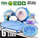 6 Pack Silicone Stretch Lids, Reusable Silicon Lids overs Food Saver Covers, Various