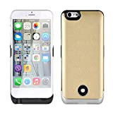 Roger® for iPhone 6 4.7 Inches Power Bank 3800mAh External Rechargeable Backup Battery Ultra Slim Leather Back Case Cover Gold